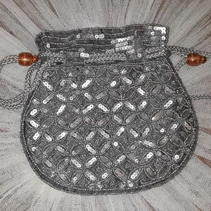Vintage Silver Beaded Clutch Purse